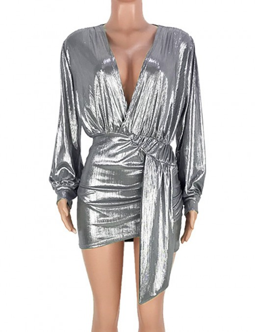 Super Trendy Silver Mini Dress Gilding Plunge Collar Belt For Camping