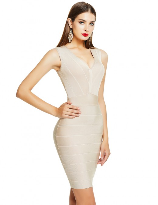 Apricot Tight Bandage Dress V-Neck Stripe Sleeveless For Playing