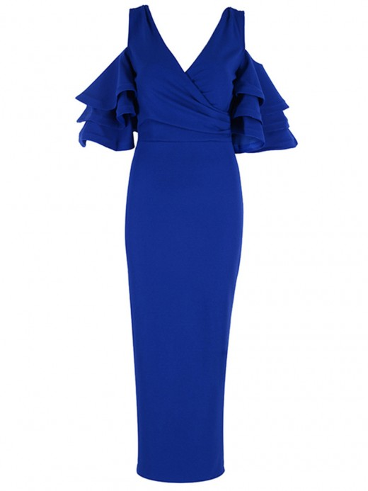 Attractive Blue Deep V-Neck Layered Sleeves Bandage Dress Smooth