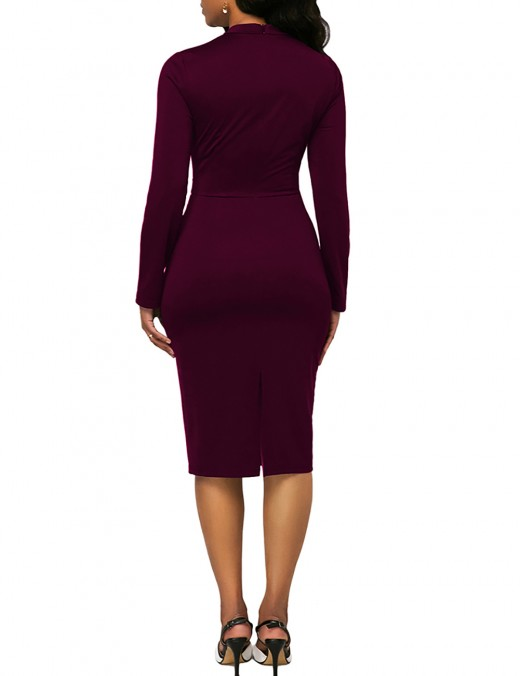 Well-Suited Red Round Neck Zipper Long Sleeve Bodycon Dress