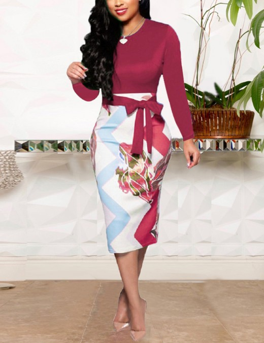 Wine Red Elegant Blue Printed Full Sleeves High Waist African Bodycon Dress