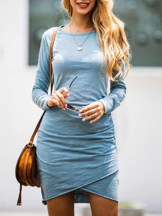Affordable Blue Side Ruched Long Sleeve Bodycon Dress