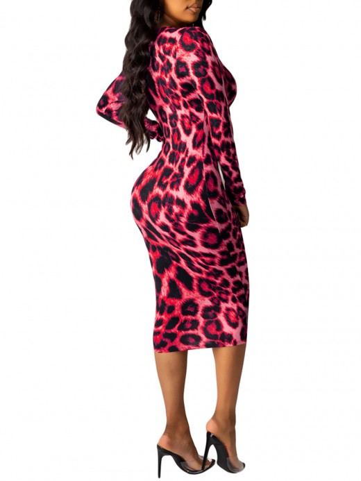 Daring Rose Red Long Sleeve Bodycon Dress Midi Length Home Dress