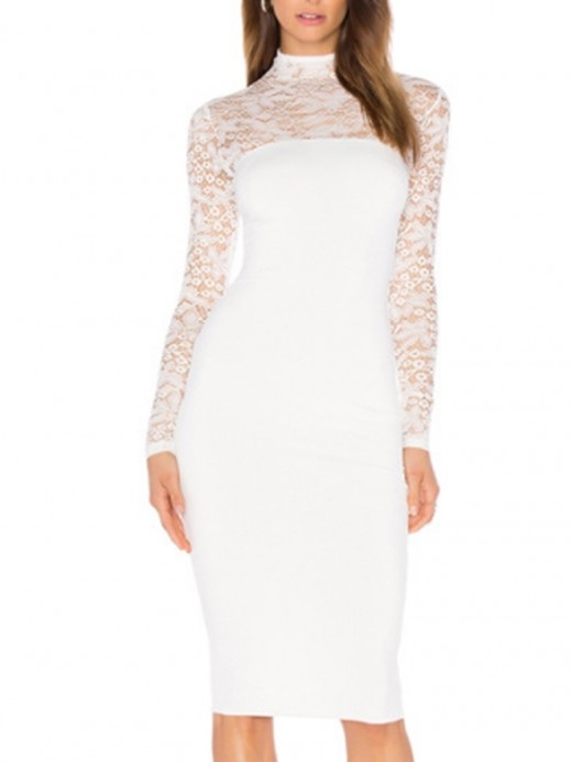Glamorous White Midi Bodycon Dress Lace Stitching Free Time