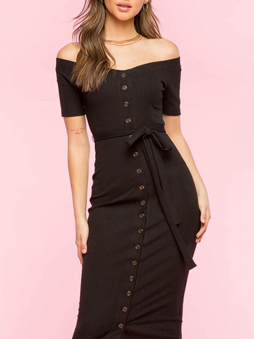 Slender Black Front Button Off Shoulder Bodycon Dress For Vacation