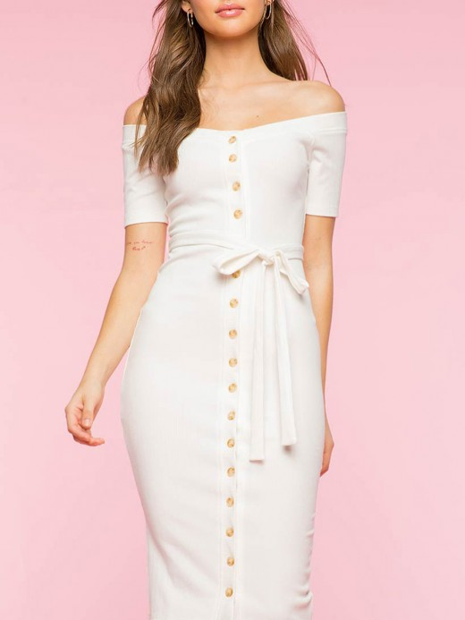 Well-Suited White Off Shoulder Bodycon Dress Waist Tie Girls