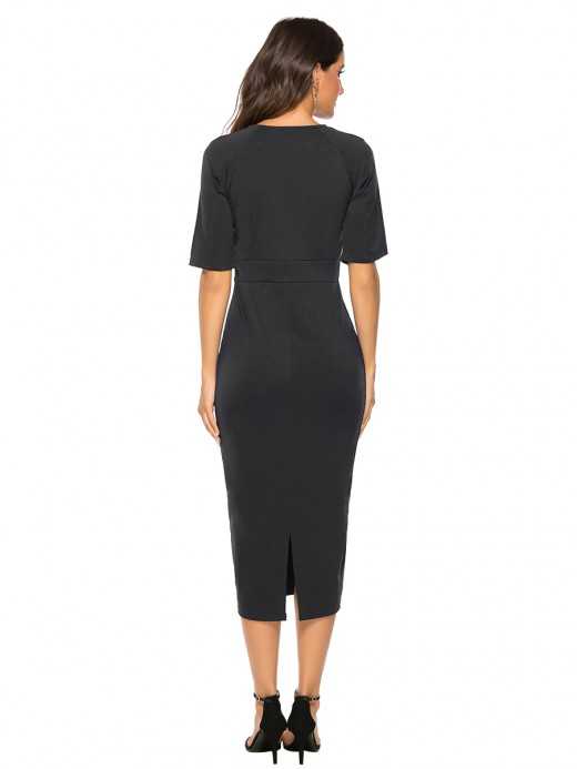 Casually Black Round Neck Short Sleeves Bodycon Dress Trend For Women