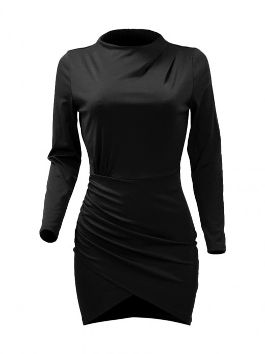 Sophisticated Black Solid Color Mock Neck Mini Bodycon Dress