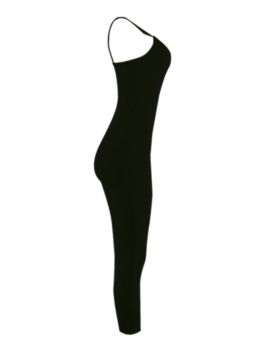 Fresh Black Solid Color Bodycon Dress Deep-V For Work