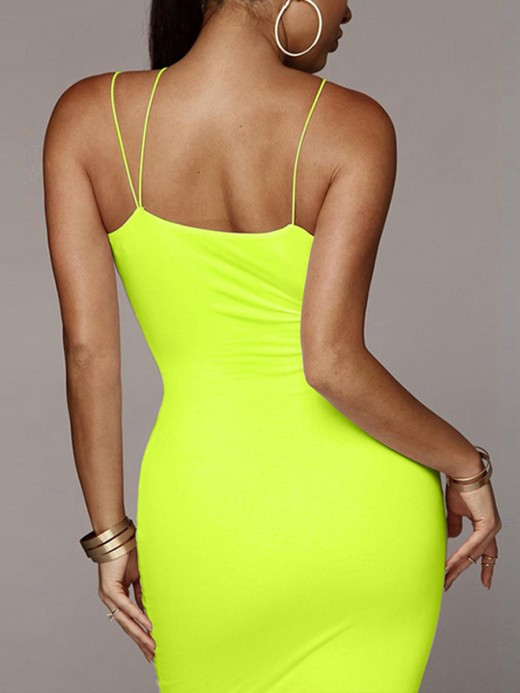 Slim Yellow Bodycon Dress Maxi Dress Plunge Collar Ideal Choice