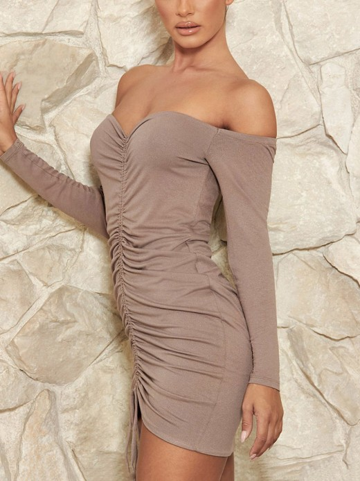 Pretty Khaki Ons Shoulder Bodycon Dress Pleated Romance