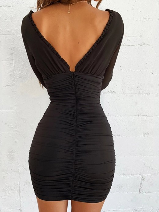 Fabulous Fit Black Deep-V Long Sleeve Bodycon Dress Snug Fit