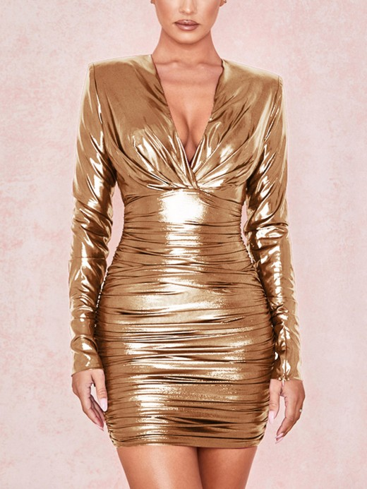 Pleasurable Rose Gold Deep-V Neck Hollow Out Bodycon Dress For Woman