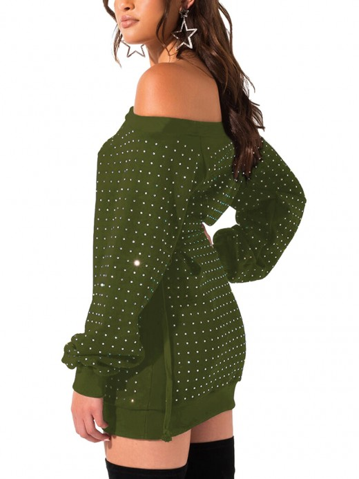 Splendid Army Green Bodycon Dress Long Sleeve Rhinestone Feminine Elegance