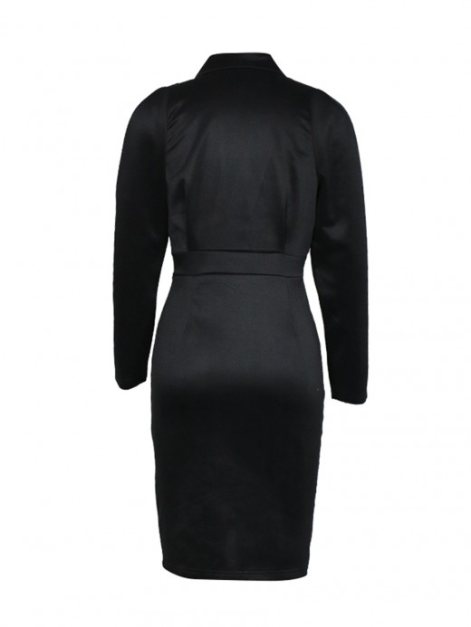 Fitness Black Bodycon Dress Ruched Plunge Collar Garment
