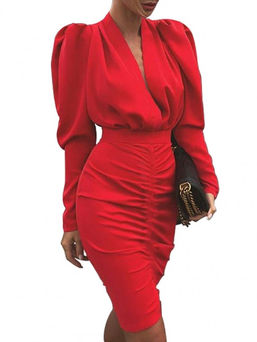 Appealing Red High Waist Bodycon Dress Midi Length Forward Women
