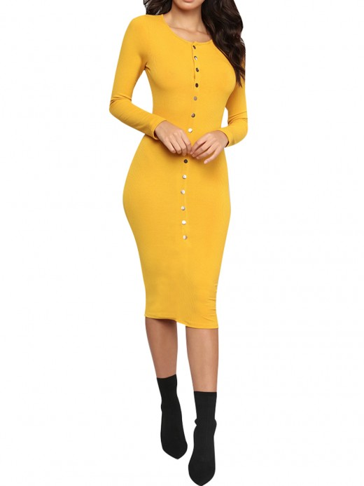 Utility Yellow Long Sleeve Bodycon Dress Button Front At Great Prices‎