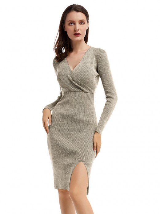 Ultra Hot Apricot Bodycon Dress High Waist V Neck Comfort Fit