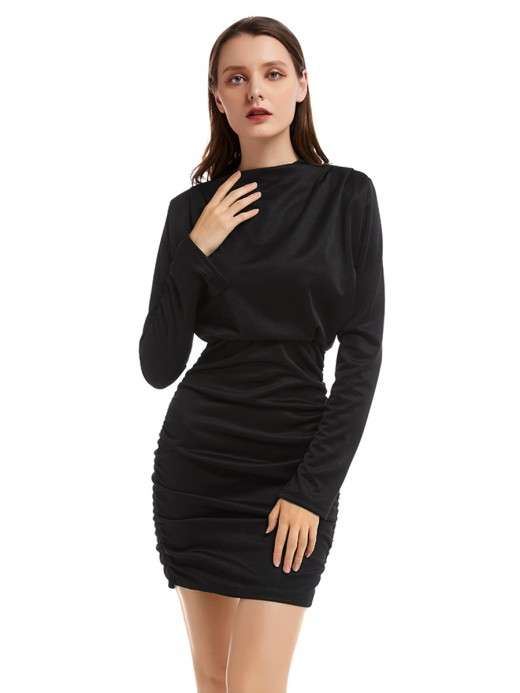 Utility Black Solid Color High Neck Bodycon Dress Romance