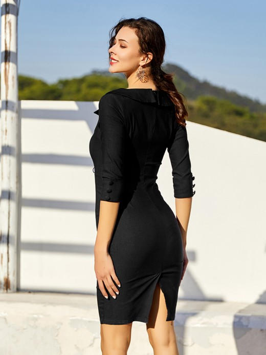 Fabulous Black Slit Hem Bodycon Dress Turndown Neck Classic Dress