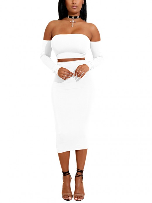 Minimalist White Backless High Waist Bodycon Skirt Suit For Vacation