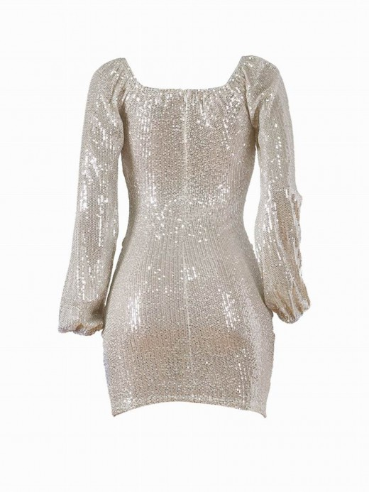 Comfy Gold Bodycon Dress Sequin Mini Length Ladies Elegance