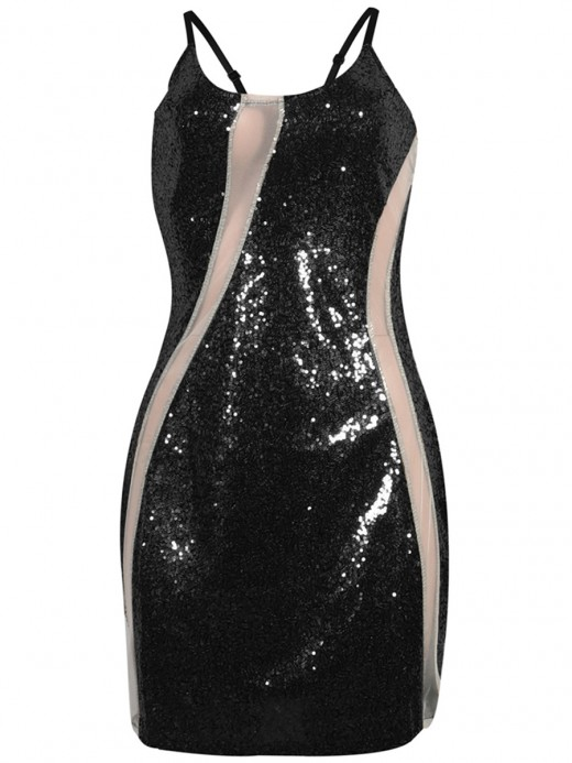 Incredible Black Sling Patchwork Bodycon Dress Sequin Weekend Time