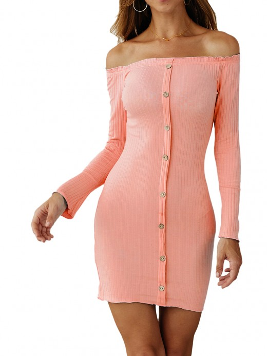 Slimming Pink Full Sleeve Bodycon Dress Front Button For Ladies