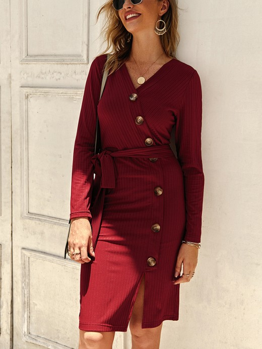 Energetic Wine Red Bodycon Dress Front Slit Full Sleeve Versatile Item