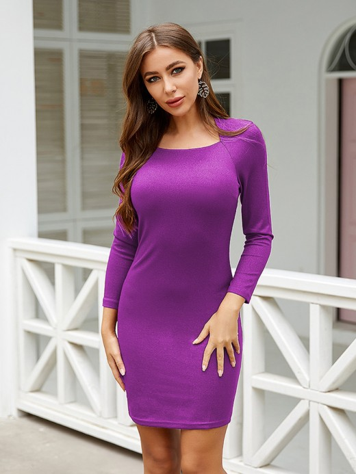 Incredible Purple Knit Bodycon Dress Solid Color Weekend Time