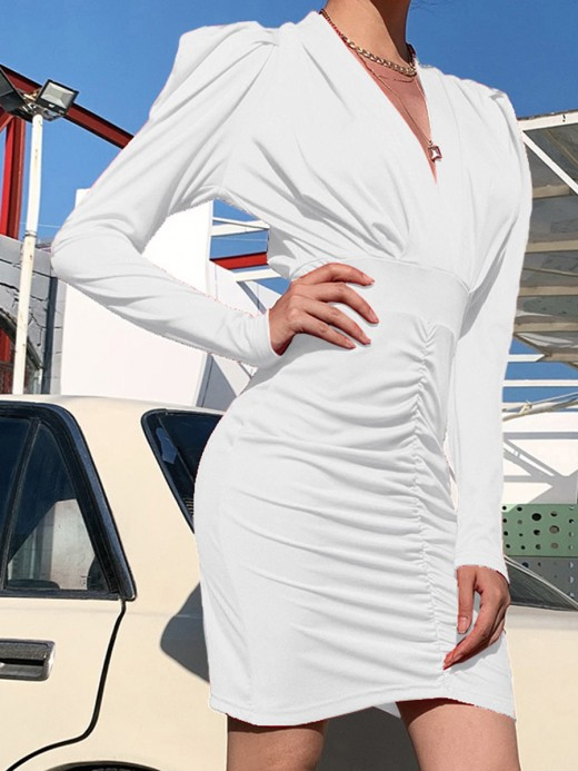 White V Neck Puff Sleeves Ruched Bodycon Dress Gentle Fabric