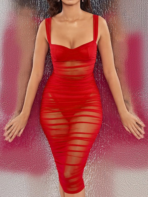 Energetic Red Open Back Bodycon Dress Zipper Backless For Vacation