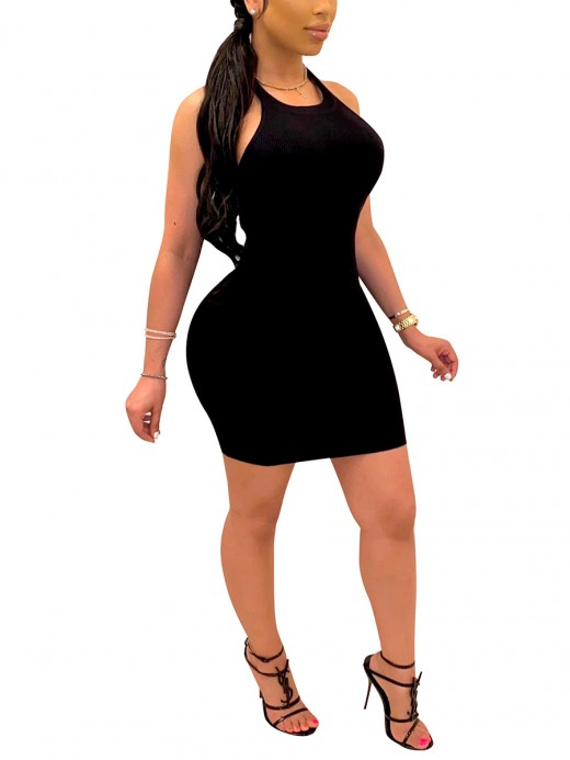 Sweety Black Backless Halter Neck Bodycon Dress Female Fashion