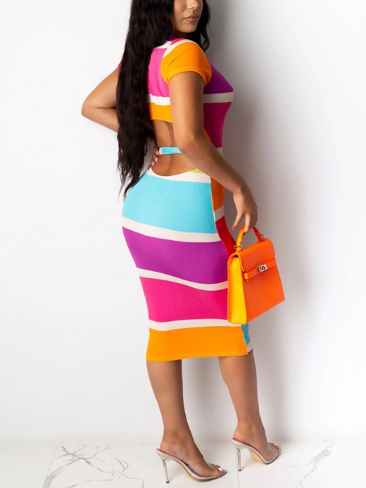 Form-Fitting Contrast Color Backless Bodycon Dress For Traveling