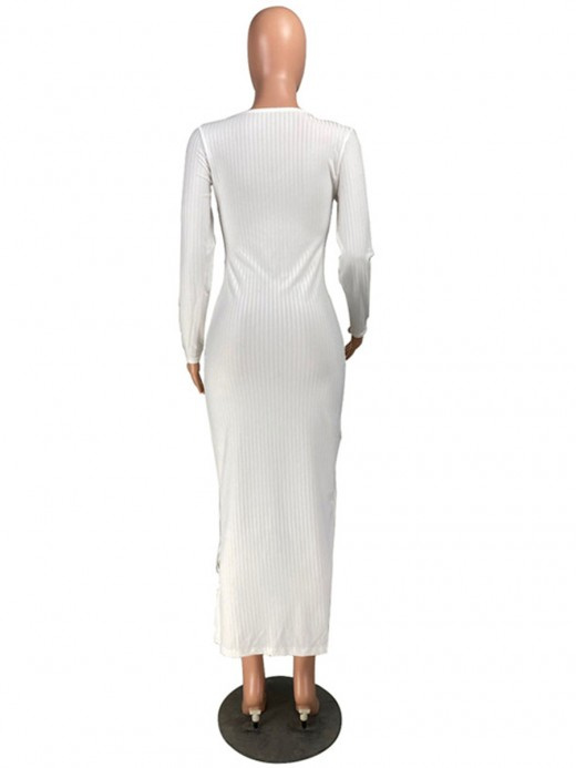 Cutout Bodycon Dress White Drawstring Solid Color Best Materials