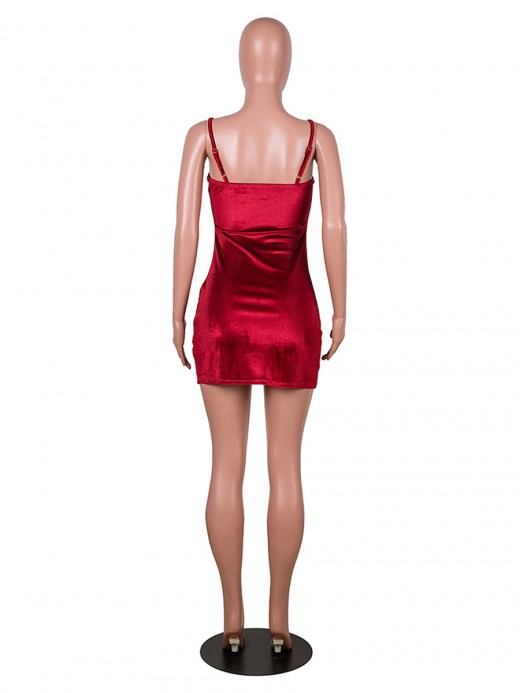 Red Adjustable Straps Velvet Bodycon Dress Tailored Quality