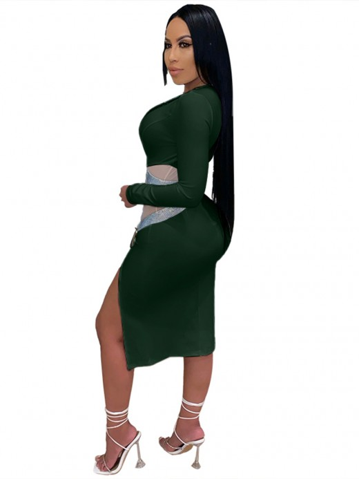 Green Plunge Neck Plus Size Bodycon Dress Mesh Fast Shipping