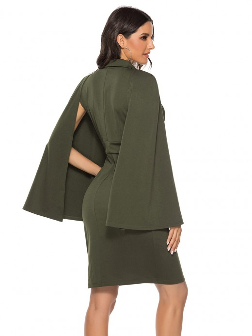 Form-Fitting Army Green V Neck Evening Dress Cape Sleeves Online