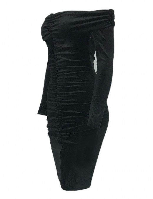 Sensual Curves Black Pleated Off Shoulder Evening Dress Stretch