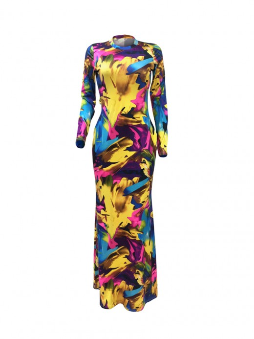 Slinky Yellow Hollow Out Back Graffiti Evening Dress High Elasticity