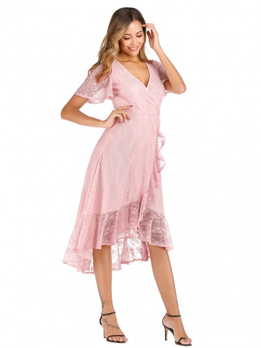 Holiday Pink Lace Ruffle Trim Evening Dress V-Neck Great Quality