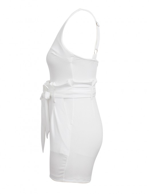 Attractive White Bow-Kont Solid Color Waist Belt Romper Woman