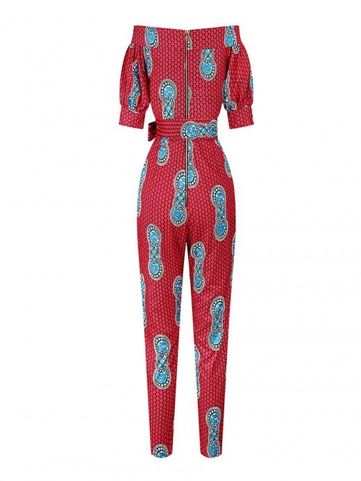 African Style Women's Off Shoulder Wide Leg Red Jumpsuits With Belt