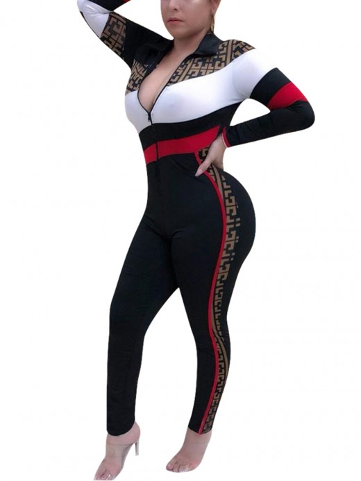 Graceful Black Patchwork Zipper Full Length Jumpsuit Woman