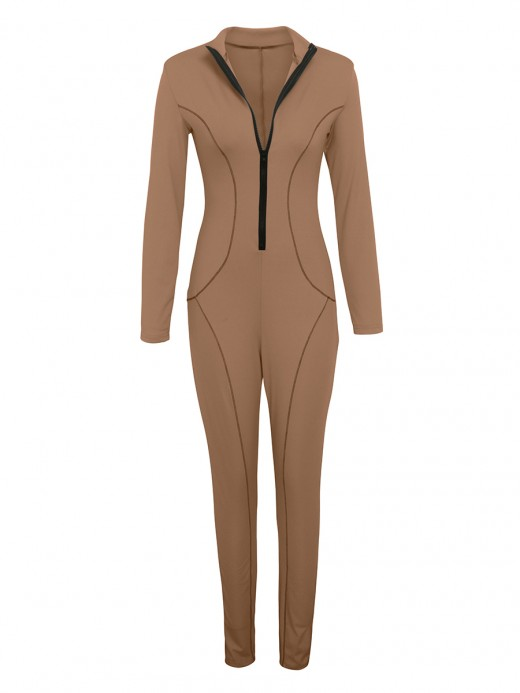 Enchanting Light Tan Full Length Jumpsuit Long Length Weekend Time