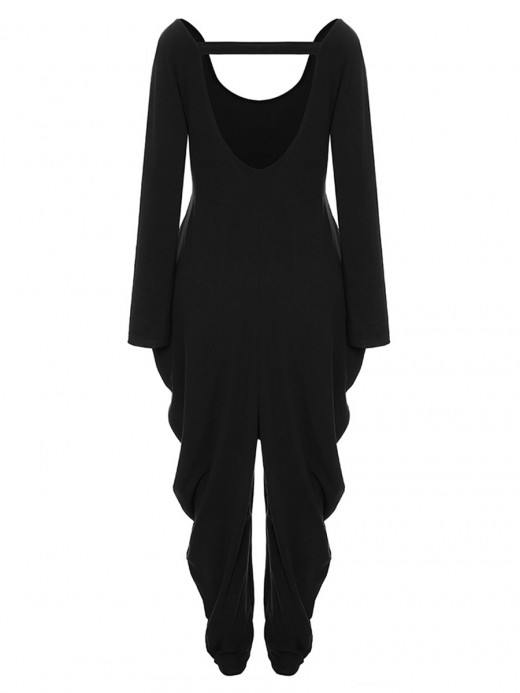 Fantasy Black Jumpsuit Solid Color Hollow Out Natural Outfit