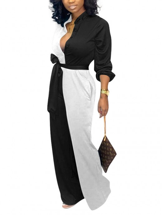 Colorful White Full Sleeves Jumpsuits Waist Knot Feminine Elegance