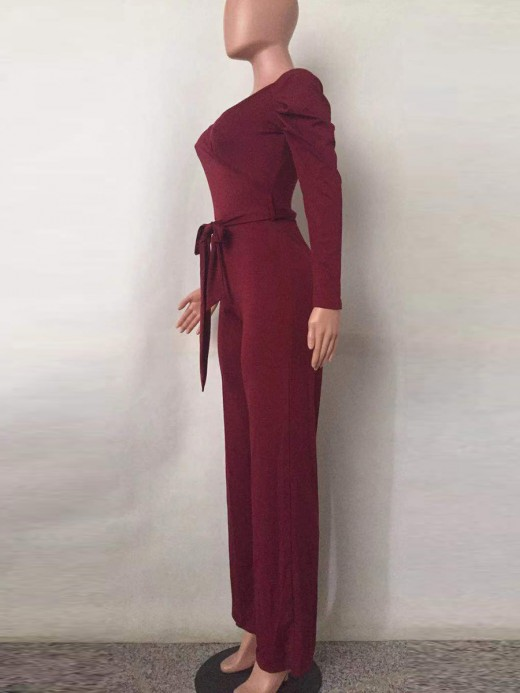 Romantic Red Deep V Neck Jumpsuits Long Sleeve Garment