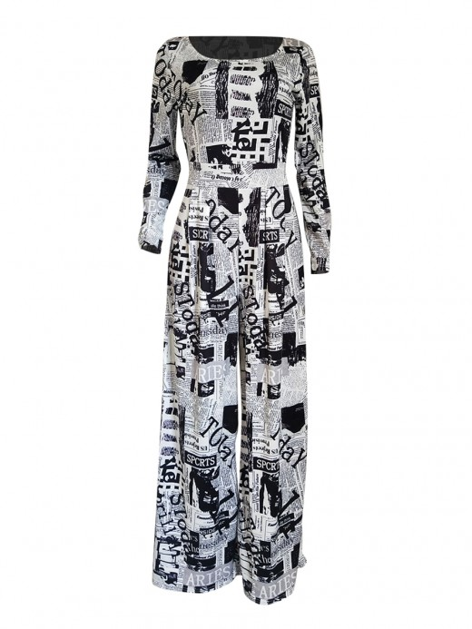 Charming White Newspaper Printed Jumpsuit Scoop Neck Glamor