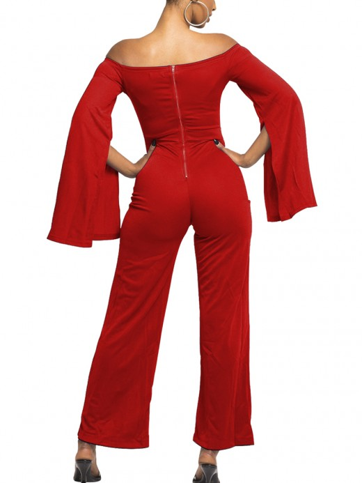 Flirting Red Wide Leg Cutout Jumpsuit Back Zip For Holiday